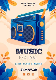 Musikplakat illustriertes thema