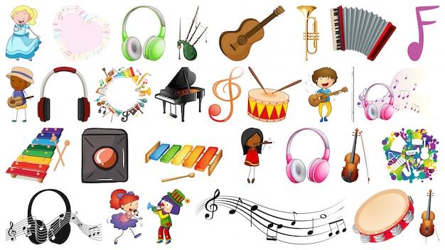 Musiksatz von leuten und von gegenständen
