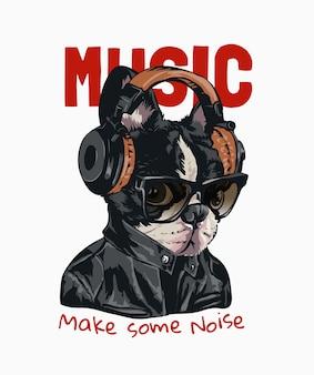Musikslogan mit hund in der sonnenbrille, die kopfhörerillustration trägt
