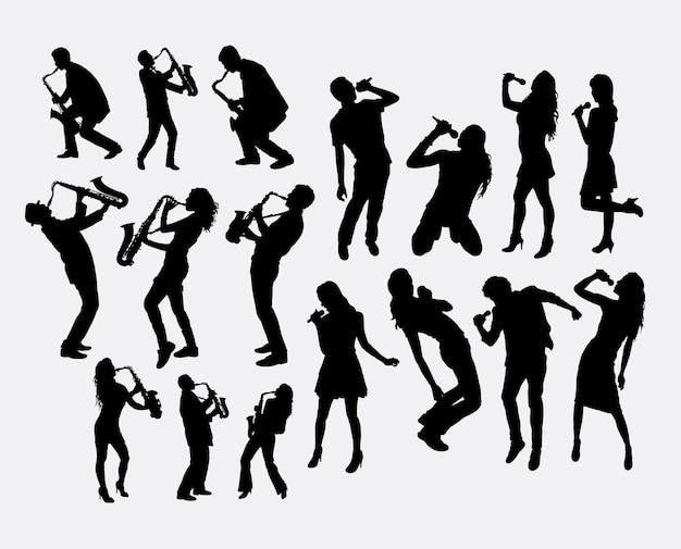 Musikspieler und sänger silhouette