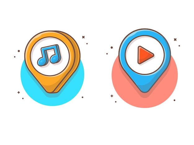 Musikstandort mit musiknote. musik pin map pointer icon white isolated