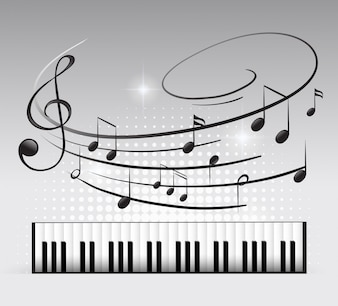 Musiktastatur und Hinweis