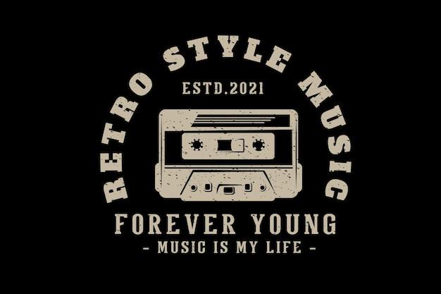 Musiktypografie-design im retro-stil mit kassette