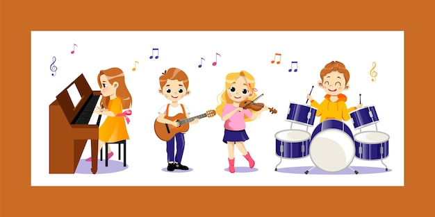Musikunterricht für kinder konzept. glückliche talentierte kinder spielen schlagzeug, klavier, violine, gitarre. kinder spielen konzert auf musikinstrumenten in der gruppe.