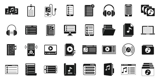 Musikwiedergabelistenikonen stellten einfachen vektor ein. zuhören in der gruppe. wiedergabeliste für radio-kopfhörer