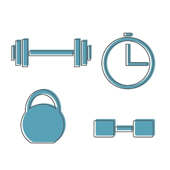 Muskelheben-icon-set, fitness-langhantel, fitnessstudio-symbol, übungshanteln isoliert, vektor-gewichtsheben-symbol