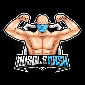 Muskelmaskenmannmaskottchen für sport- und esportlogovektorillustration