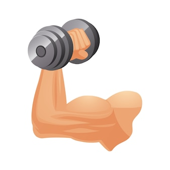 Muskulöser kaukasischer arm