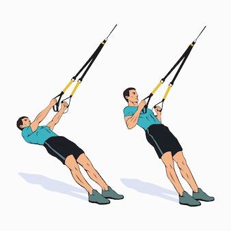Muskulöser mann, der klimmzüge mit trx-fahrwerkstrainingsgeräten macht