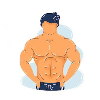 Muskulöser mann der starken eignung mit perfektem körper
