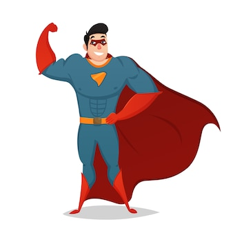 Muskulöser mann gekleidet im superheld-kostüm