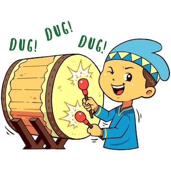 Muslim boy charakter pose hit drum.