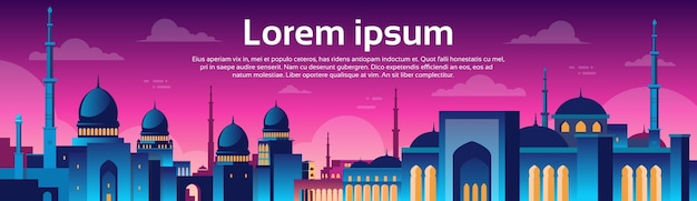Muslim cityscape nabawi moschee gebäude religion nachtansicht