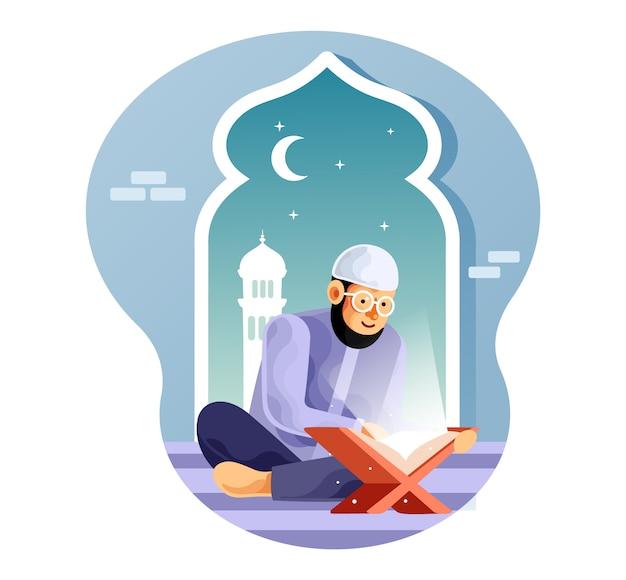 Muslim liest nachts in der moschee den koran