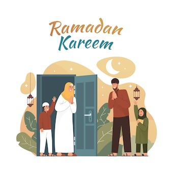 Muslime begrüßen und feiern ramadan
