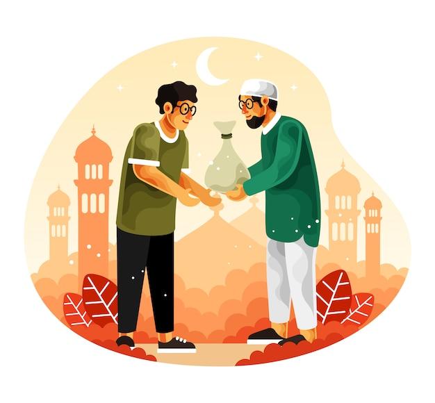 Muslime geben im monat ramadan almosen oder zakat