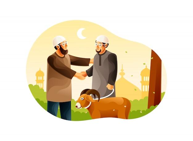 Muslime geben ziegen für eid al-adha