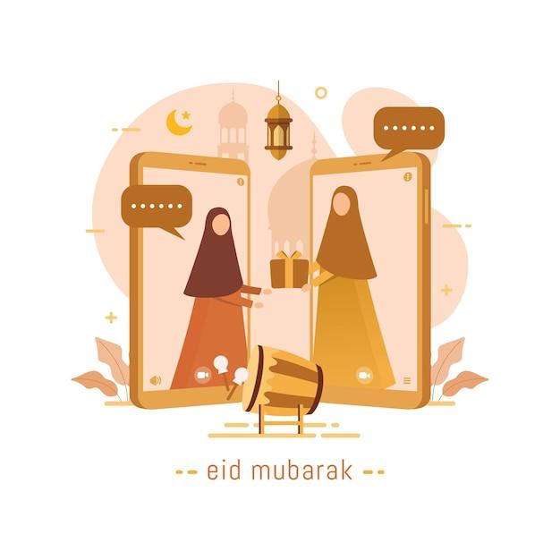 Muslime kommunizieren videoanrufe