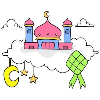 Muslimische anbetungsgebäude, moscheen über den wolken. cartoon-emoticon. gekritzelsymbolzeichnung, vektorillustration