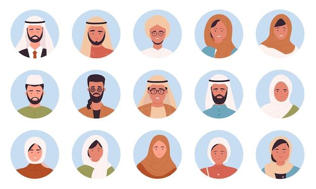 Muslimische araber porträtieren runde avatare setzen multinationale mann-frau-gesicht-benutzerbilder