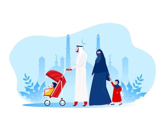 Muslimische arabische familie, die im park kid, flache illustration der zeichentrickfiguren geht.