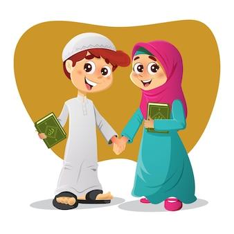 Muslimische arabische jungen und mädchen, die bücher über den heiligen koran halten