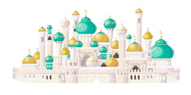 Muslimische burg. karikatur islamische moschee. illustration.