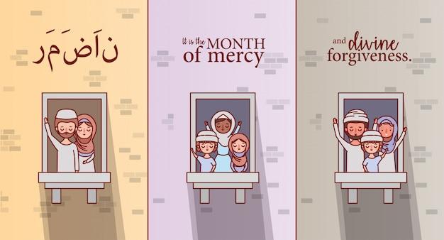 Muslimische familie, die ramadan eid mubarak am fenster feiert