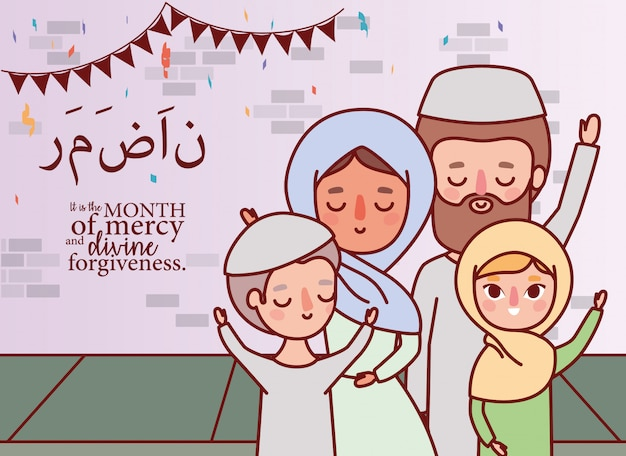 Muslimische familie feiert ramadan eid mubarak