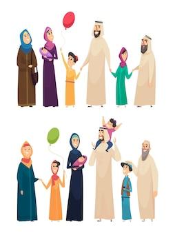 Muslimische familie. große arabische glückliche familie saudische leute vater mutter jungen mädchen ältesten
