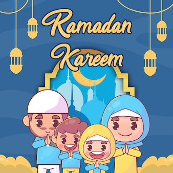 Muslimische familie grüßt ramadan kareem islamisch