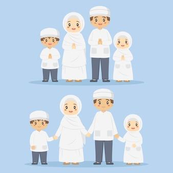 Muslimische familie im weißen kleiderset