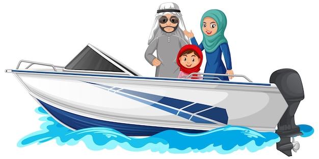 Muslimische familie steht auf einem schnellboot