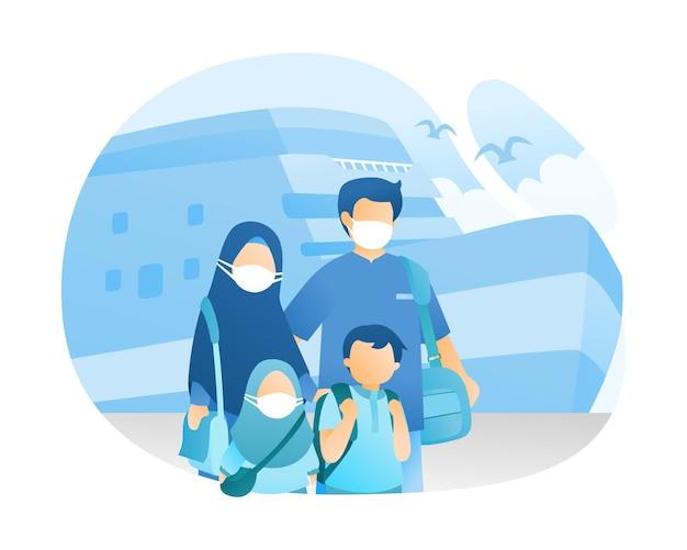Muslimische familien, die durch kreuzfahrtschiff-illustration reisen