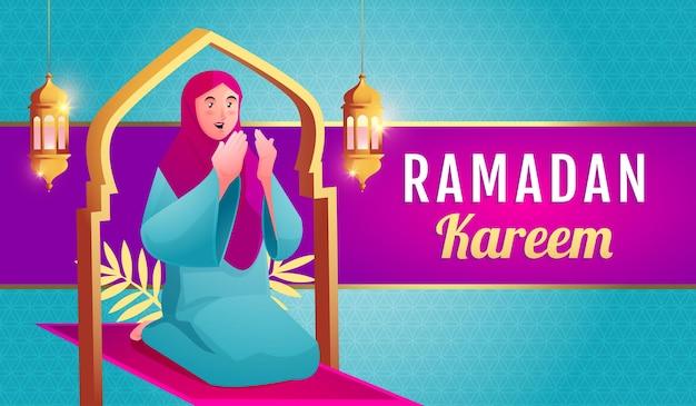 Muslimische frau beten, um ramadan kareem willkommen zu heißen