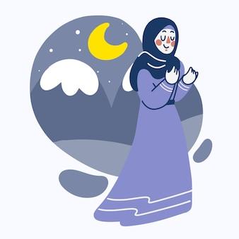Muslimische frau, die bei ramadan kareem nachtillustration betet
