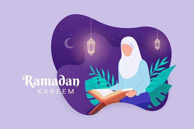 Muslimische frau, die den koran liest