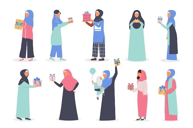 Muslimische frau, die geschenkbox-satz hält. arabische frauensammlung in verschiedenen traditionellen kleidern mit geschenk. frau, die hijab trägt. islam religion.