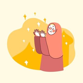 Muslimische frau, die illustration betet
