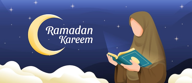 Muslimische frau, die koran oder koran im heiligen monat ramadan kareem mit halbmond- und sternillustration liest