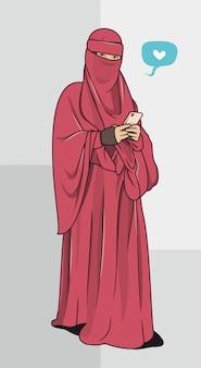 Muslimische frau im hijab mit vektorillustration