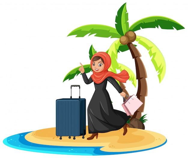 Muslimische frau in den sommerferien