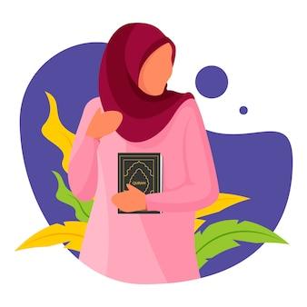 Muslimische frau in der flachen charakterillustration des ramadan kareem