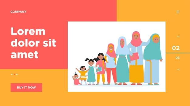Muslimische frau in unterschiedlichem alter. erwachsener, kind, oma. wachstumszyklus und generierungskonzept für das website-design oder die landing-webseite