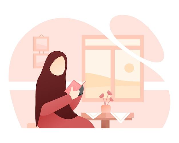 Muslimische frau mit bionischer hand liest al-quran-illustration