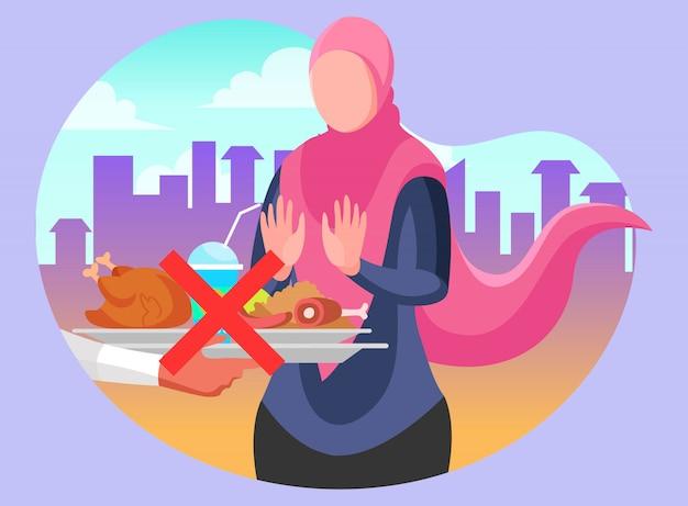 Muslimische frau mit hijab, die sich weigert, für das ramadan-fasten zu essen und zu trinken