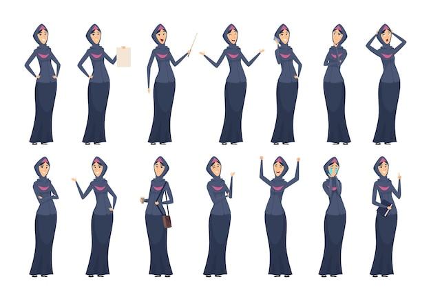 Muslimische frau. weibliche arabische geschäftsfiguren in den schwarzen kleidern eingestellt