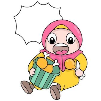 Muslimische frauen, die hijab tragen, essen gierig gebratene hähnchenschenkel, vektorgrafiken. doodle symbolbild kawaii.