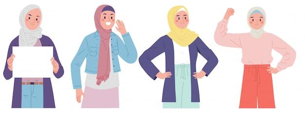 Muslimische frauen, die hijab tragen, zeigen macht beim fasten im ramadan