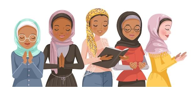 Muslimische frauen gruppieren eine geste des respektgebetes und der anbetung für ramadan-muslime